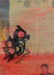 moving on VI - collage auf leinwand - 20 x 20 cm - 2004