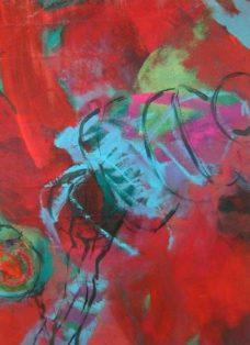 im jadegarten I - collage - mixed media auf leinwand - 70 x 50 cm - 2005
