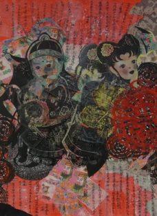 out of my mind III - collage - mixed media und epoxydarz auf leinwand - 60 x 60 cm - 2014