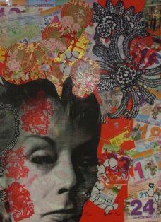 out of my mind I - collage - mixed media und epoxydarz auf leinwand - 60 x 60 cm - 2014