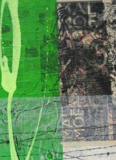grün auf hoffnung  VIII - collage - mixed media auf leinwand - 50 x 50 cm - 2007