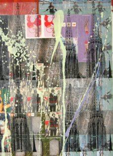 wien I - collage - mixed media auf leinwand - 100 x 100 cm - 2007